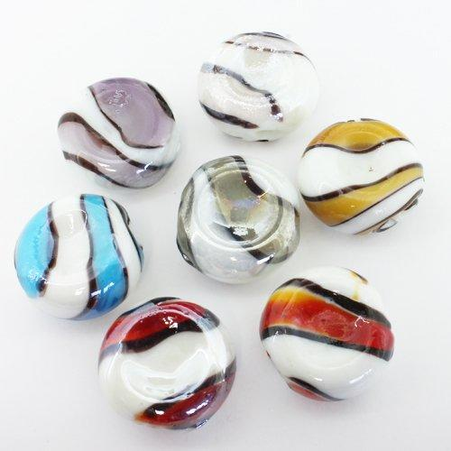 Lampwork Glass Beads Concave Disc 25mm - 10pcs Mixed