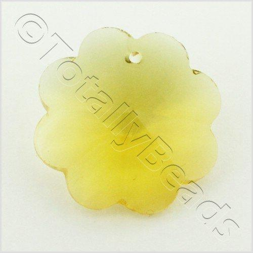 Glass Pendant 8 Petal flower 25mm - Amber