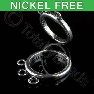 Antique Silver Metal Ring Base 3 Loops 16mm 5pcs