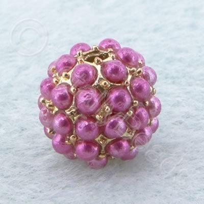 BeadyBall Bead - Gold and Fuschia