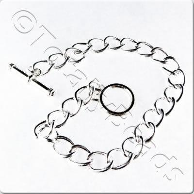 Chain Bracelet - Silver Plate - Oval Twist with Toggle Clasp