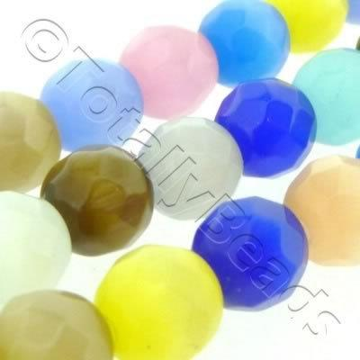 Cats Eye Bead - Facet Round 8mm - Mixed