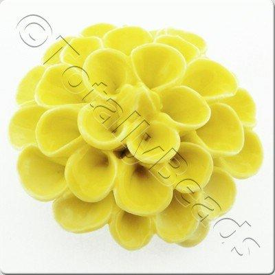 Ceramic Pendant - Flower - Yellow