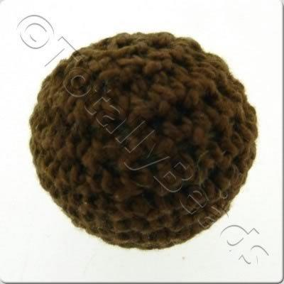 Crochet Bead 22mm - Chocolate Brown