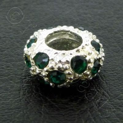 Diamante Large Hole Rondelle Spacer - 11x6mm - Dark Green