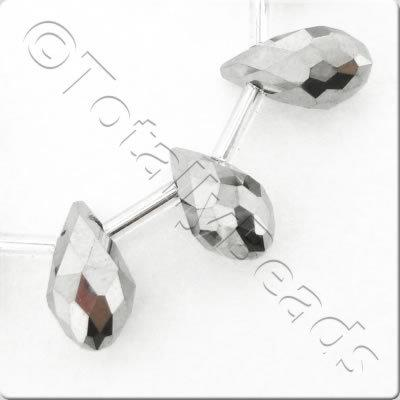 Crystal Drop Top Drilled 6x12mm - Silver Plate