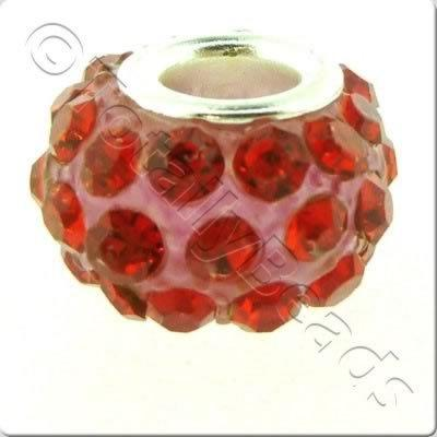 Diamante Large Hole Bead - Red