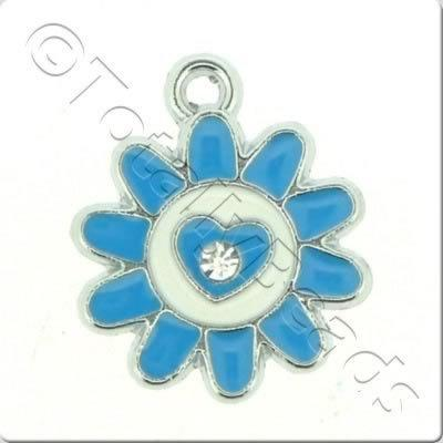 Enamel Charm - Sunflower - Blue