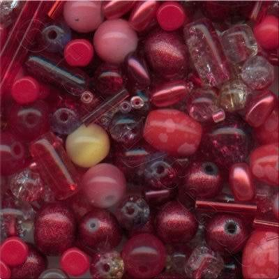 Mixed Glass Beads - Red - Tube