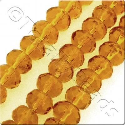 Glass Rondelle - 6x4mm - Amber