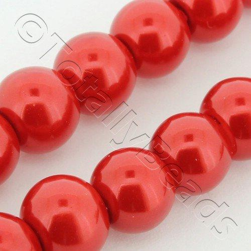 Glass Pearl Round 8mm Cherry Red Grade B