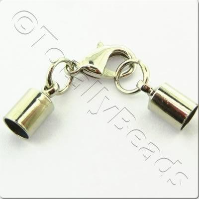 Kumihimo 5mm Barrel Lobster Clasp Rhodiumn - 2 sets