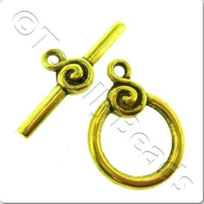 Tibetan Gold Toggle - Swirl Ring 16mm A1708