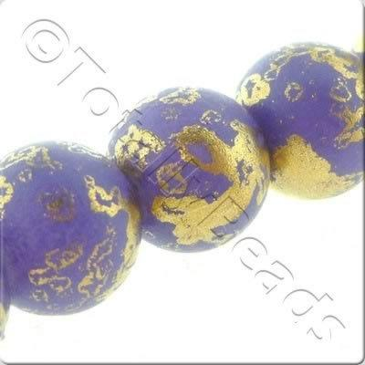 Gold Shimmer Glass Beads Round - Matt Purple