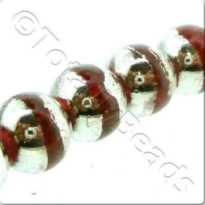 Half Silver Round Glass Bead - Red