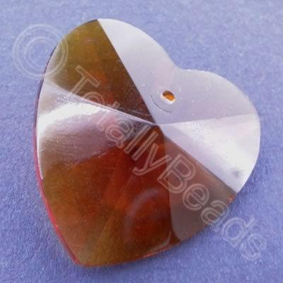 Glass Pendant Heart Amber - 28mm