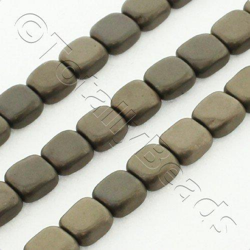 Hematite Flat Square 4mm - Matt Coffee Plated