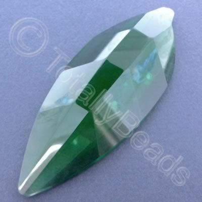 Glass Pendant Leaf Rounded Green - 80mm