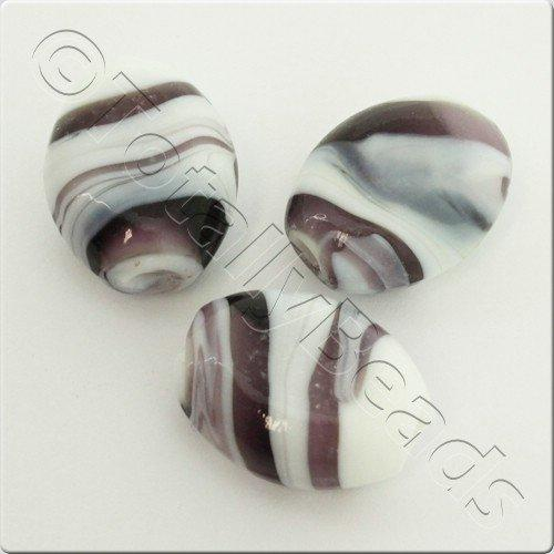 Lampwork Glass Bead Oval 23mm - Amethyst White Swirl
