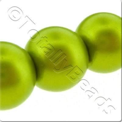 Glass Pearl Round Matt Finish - Olive