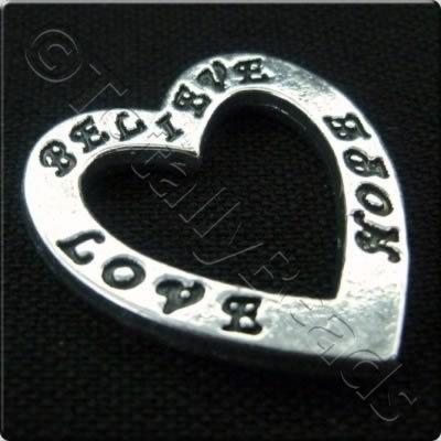 Tibetan Silver Message Heart Ring - Believe Love Hope