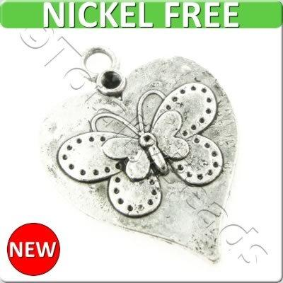 Antique Silver Metal Charm - Butterfly Heart 20mm 12pcs - K724