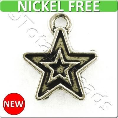 Antique Silver Metal Charm - Star 11mm 25pcs - A10042