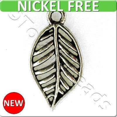 Antique Silver Metal Charm - Leaf 19x10mm 15pcs - A16226