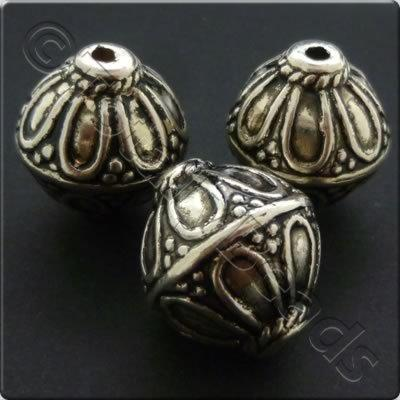 Metalised Acrylic Bead Round 19mm - Antique Silver 1pc