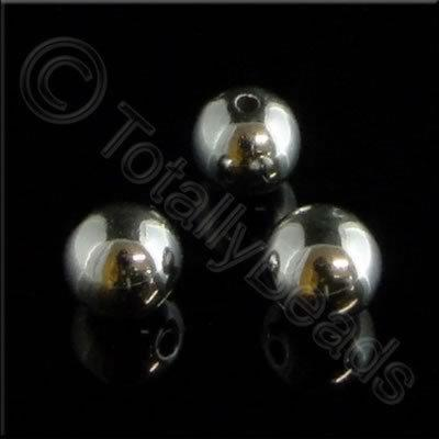 Metalised Acrylic Bead Round - 8mm - Antique Silver 100pcs
