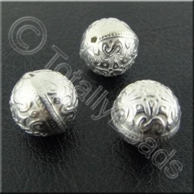 Metalised Acrylic Pattern Bead - 10mm - Silver 20pcs