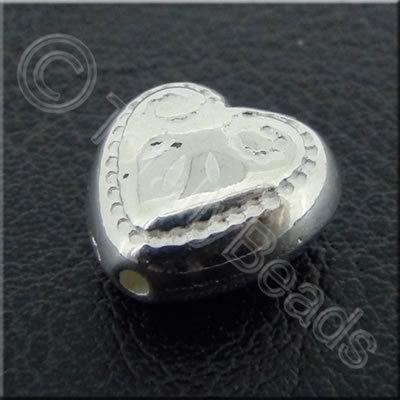 Metalised Acrylic Heart Bead - 11x6mm - Silver 40pcs