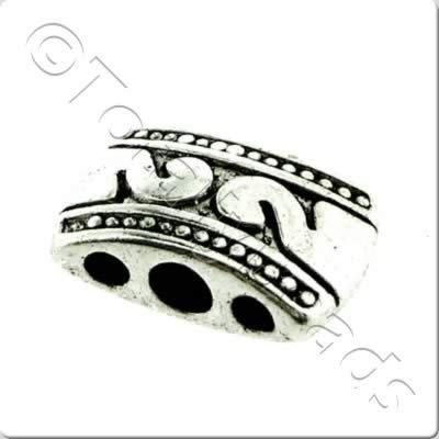 Tibetan Silver Bead - 3 Hole 11mm A8086