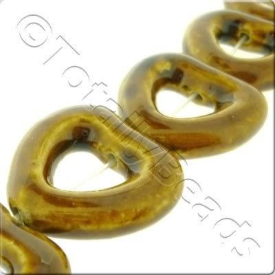 Ceramic Beads - Hollow Heart 30mm - Brown