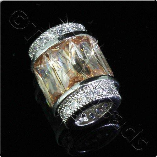 Pave Crystal Bead - Silver Champagne Barrel