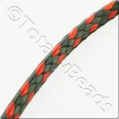 Plaited Wax Cord 2mm - Black and Red