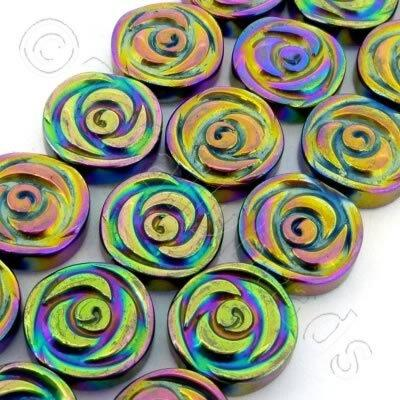 Hematite Rose Disc 12mm - Rainbow