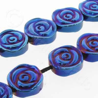 Hematite Rose Disc 12mm - Blue Plated