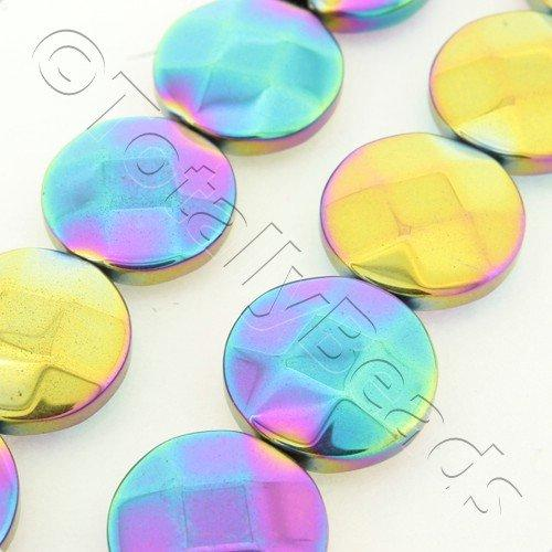 Hematite Facet Disc 12mm - Rainbow Plated