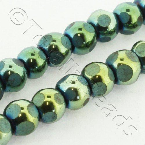 Hematite Round 6mm Cutting - Green Plated