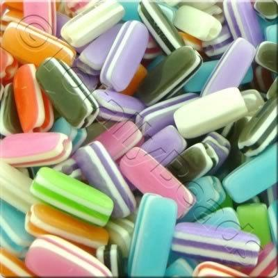 Resin Bead - Stripe Cubiod 14mm - Mixed