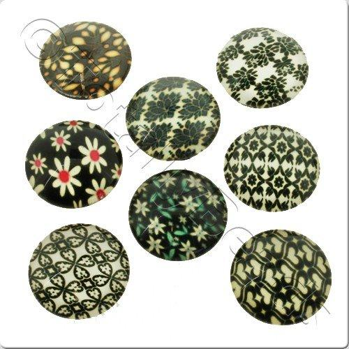 Glass Cabochon 20mm - Antique Green Design 8pcs