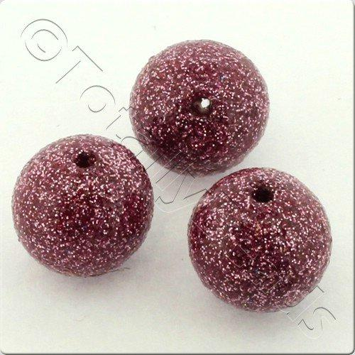 Resin Glitter Round 10mm Bead - Dirty Pink