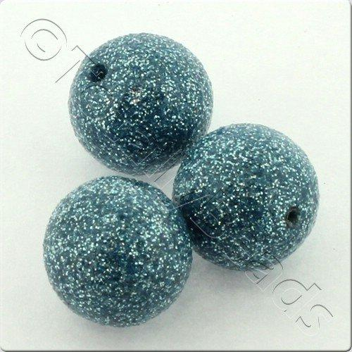 Resin Glitter Round 10mm Bead - Light Turquoise