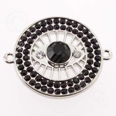 Metal Eye Connector 30mm - Dark Purple Rhinestone