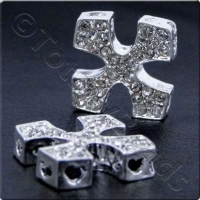 Rhinestone Connector - Square Cross 20mm - Silver and Crystal