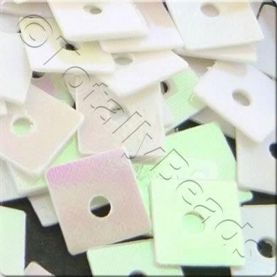 Sequins - 4mm Square - Opaque White AB