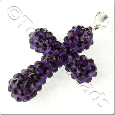 Shamballa Cross Pendant - 32x23mm - Purple