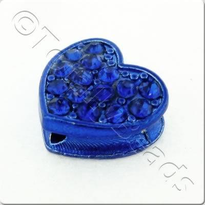 Shamballa Flat Heart - 11x12mm - Royal Blue