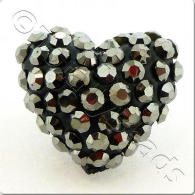 Shamballa Heart Bead - 20mm - Hematite
